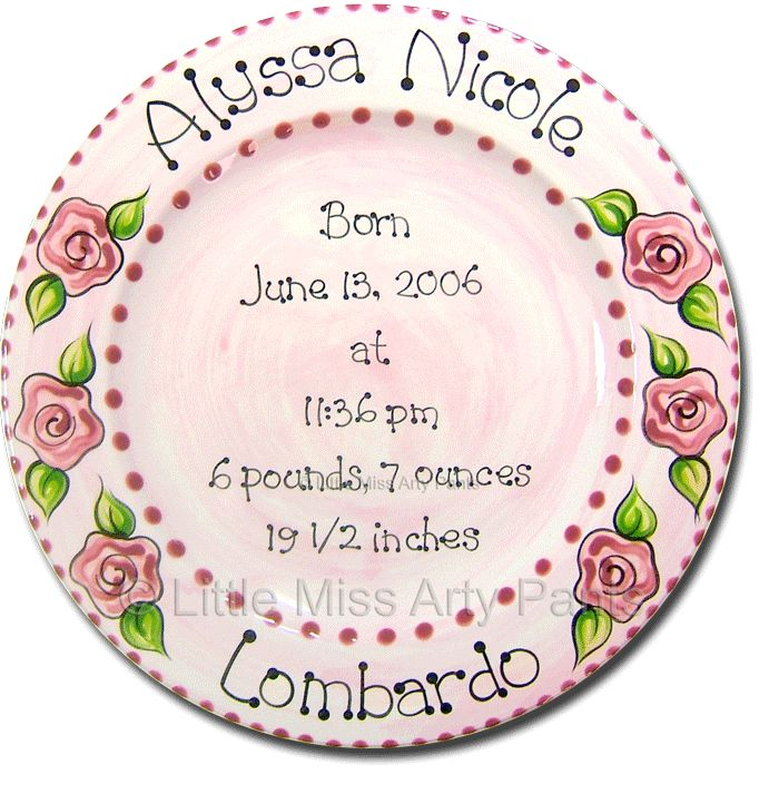 34 best birth announcement plates images on Pinterest   Painted ...