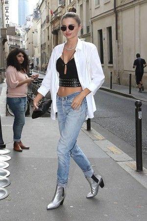 Miranda Kerr wearing Prada Spr 53ps Round-Frame Sunglasses and Ash Obsession Silver Metallic Boots.
