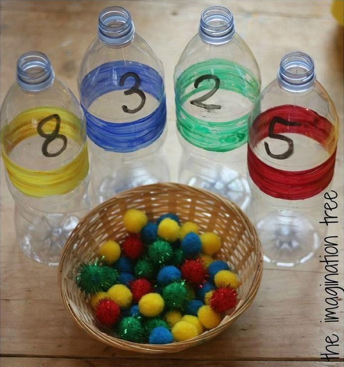 Objetivo é colocar os número indicado e da cor correta. Ensina sobre cores e números, além de estimular a coordenação motora.