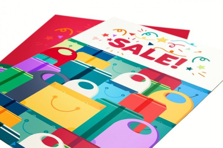 Shop Concept from Shopping Bags, Boxes and Packages with products. Sale Banner. Shelves store with offer for print, flyer, sticker, poster. Vector