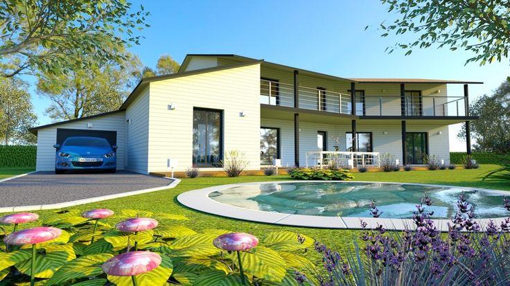 Un projet de maison bois 265m2, bardage pré-peint blanc et finitions acier par AMI BOIS www.ami-bois.fr