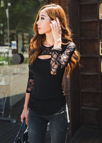 Knockout Hollow Lace Splicing Cutout Design T Shirts Black – teeteecee - fashion in style