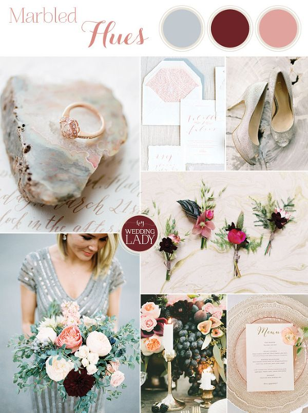 #Pantone Colors of the Year Marsala, Rose Quartz, and Serenity all meet in this Modern Marbled Wedding in Silver, Burgundy, and Blush