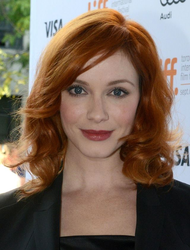The 20 Hottest Hairstyles for Shoulder Length Hair: Christina Hendricks Shows Off Her Waves Beautifully