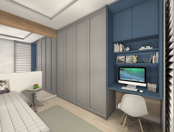 quarto, menino, hospedes, nicho azul, espelho, tijolo branco, guarda roupa cinza.