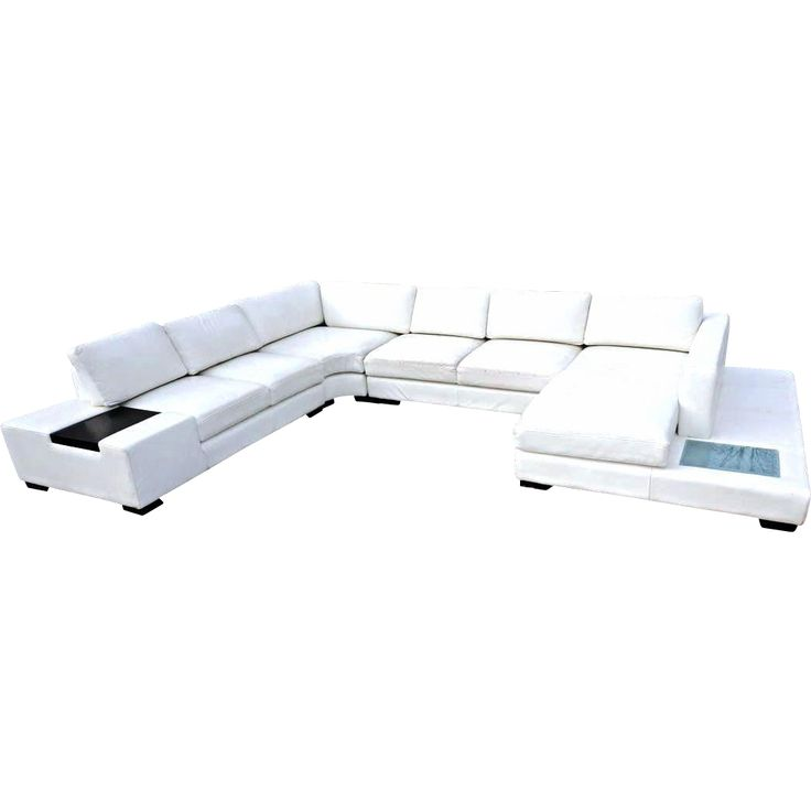 WHITE LEATHER SECTIONAL SOFA Loveseat Settee Couch Chaise Mid Century Modern  -- found at www.rubylane.com #VintageBeginsHere