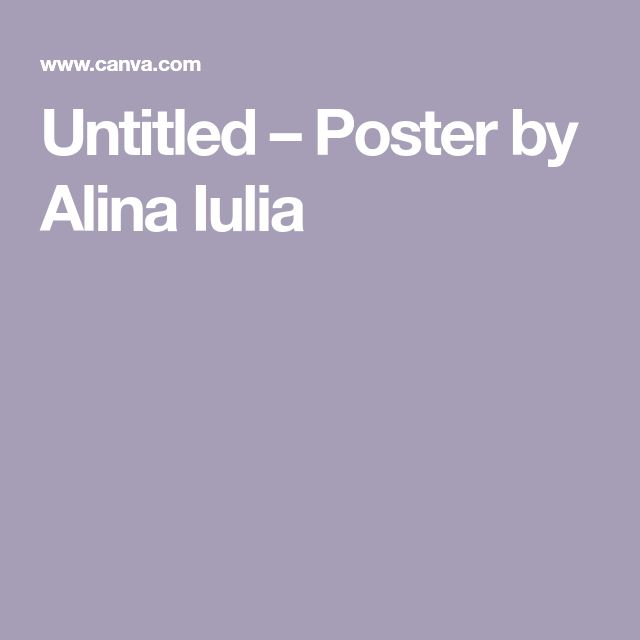 Untitled – Poster by Alina Iulia