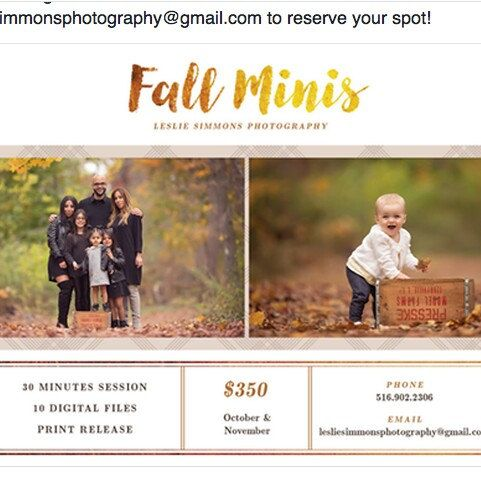 The example if you use our Fall Mini Session Template. Picture by our talented photographer, Leslie Simmons. Hope your session is going smoothly. Good luck!