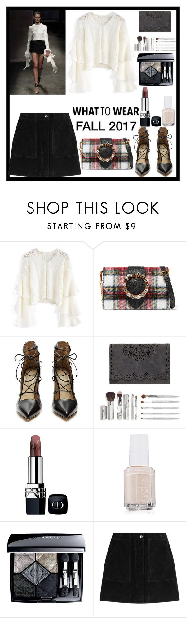 """""""What To Wear: Fall 2017"""" by sparklemeetsclassic ❤ liked on Polyvore featuring Milly, Chicwish, Miu Miu, Francesco Russo, Trish McEvoy, Christian Dior, Essie and rag & bone"""