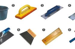 Основной инструмент, используемый при плиточных работах: 1 – пластмассовый бак; 2 – терка с губкой; 3, 4 – терка металлическая; 5, 6 – зубчатый шпатель; 7 – резиновая терка; 8 – щетка.