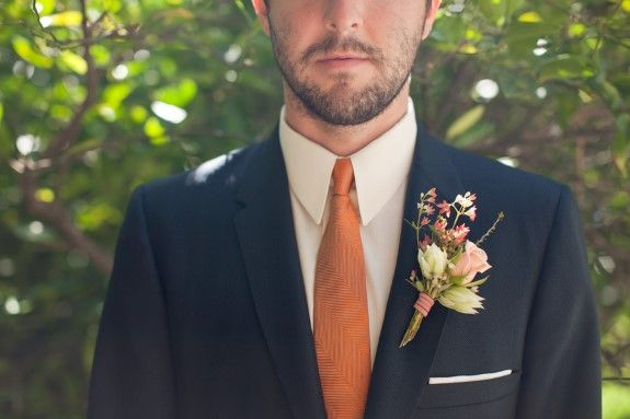 "Groom with charcoal suit & orange tie from Eclectic Music Festival Themed Wedding Shoot based on Dave Matthew's Band's ""You&Me"". Images by Lovato Photography."