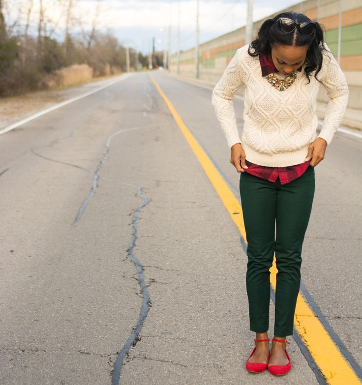 business casual/ cable knit sweater/ plaid shirt layering/ red flats/ green work pants