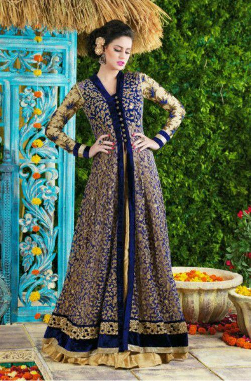 172ff729e7 Blue Net Evening Gown with BONUS Lehenga | Gypsy heart | Designer salwar  suits, Anarkali suits, Lehenga style