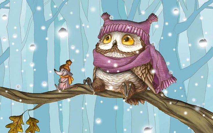 Сова, снег, птицы, ветви, зима обои