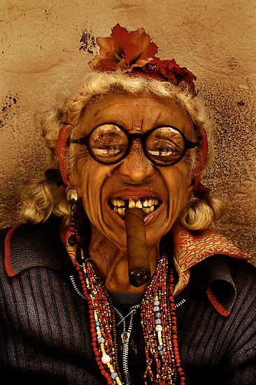 """One of the many famous faces of Havana Cuba is this old woman sitting next to Bar Bodeguito del Medio. I call her """"La Famosa"""""""