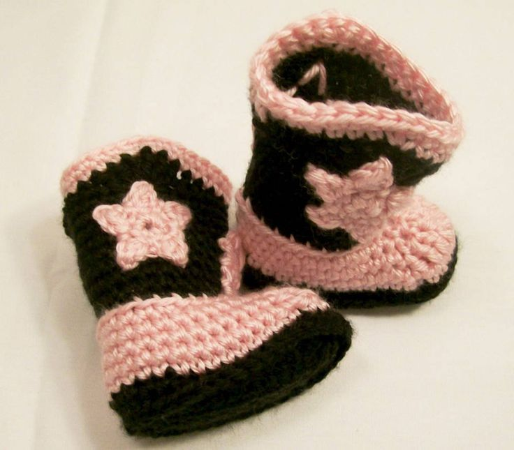 Baby Girls Crochet Western Cowgirl Boots in Pink Brown Baby Girl gift, Baby Shower Gift, Baby Girl Booties, Made in the USA, #155 by HandmadeGiftbybarb on Etsy