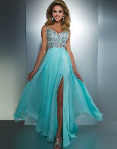 Lovely turquoise evening gown design by Mac Duggal.