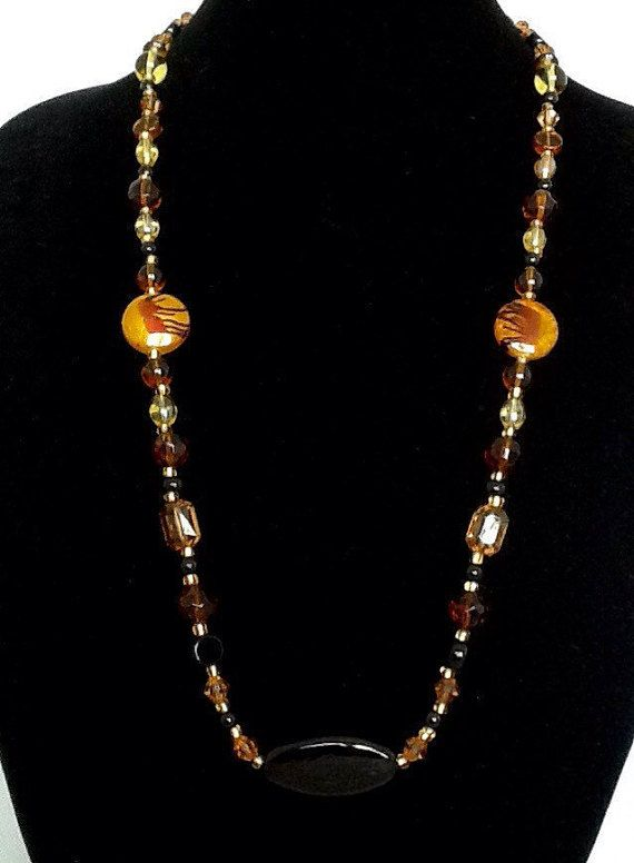 32 Inch Necklace is an Autumn Beauty! Glass Beads of Different Shapes and Sizes, Plain and Faceted, Will Steal Your Heart.