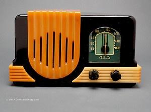 ADDISON 2 Black with White Swirl and Yellow Trim Catalin Tube Radio Art Deco