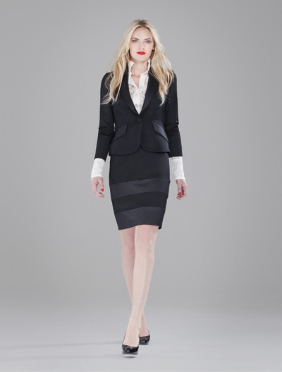 The perfect black skirt suit worn with tailored shirt