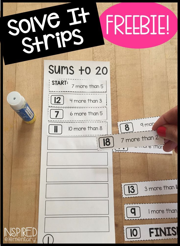 FREE! Solve It Strips math center - Mental math puzzles that engage students in problem solving skills. Early-finisher math activity or use during guided math!