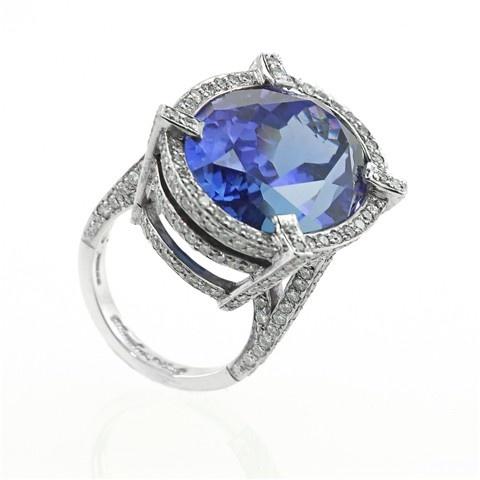 The 'Deep Blue' Tanzanite & Diamond cocktail ring #cocktailhour