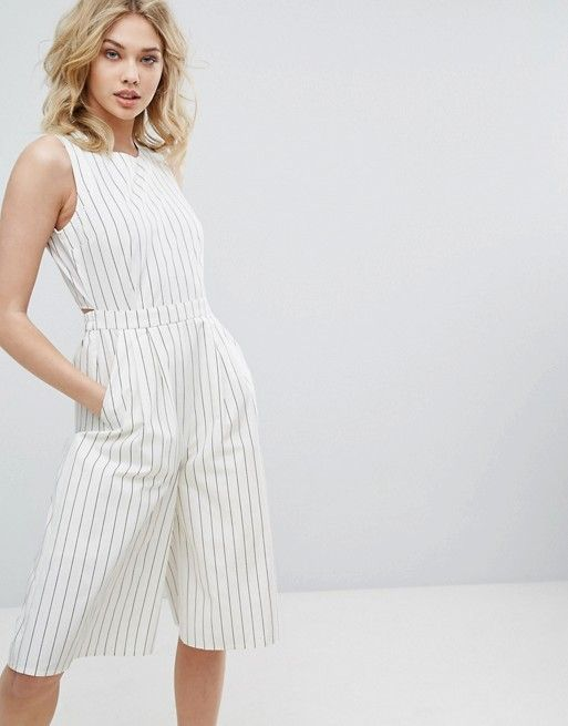 Vera Moda Open Back Striped Culotte Jumpsuit