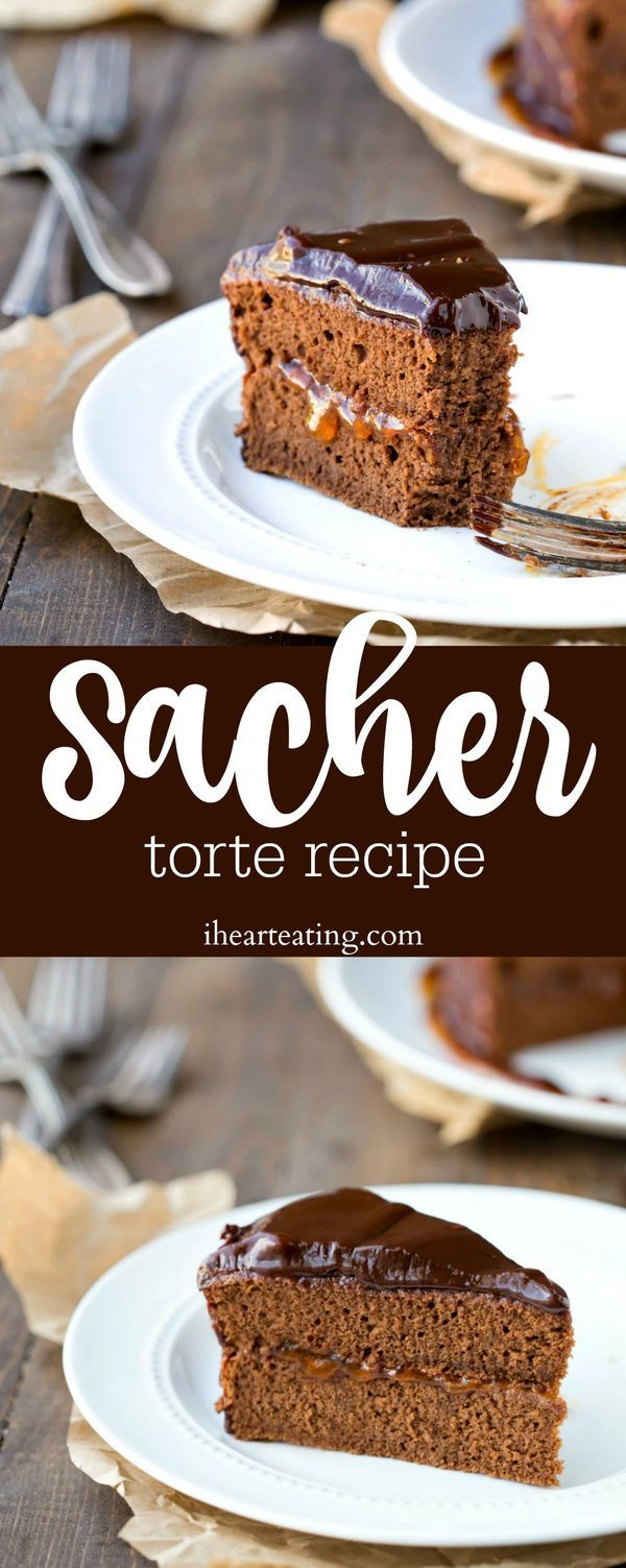 Sacher Torte Recipe - chocolate sponge cake filled with apricot jam and topped with chocolate ganache. Such a yummy dessert!