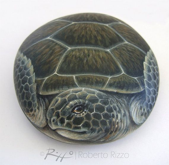 Unique Hand Painted Rock Sea Turtle by RobertoRizzoArt on Etsy                                                                                                                                                                                 Mais