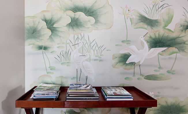 Modern chinoiserie 'Herons Pond' design from Misha wallpaper, hand painted on Pale Blue dyed silk.