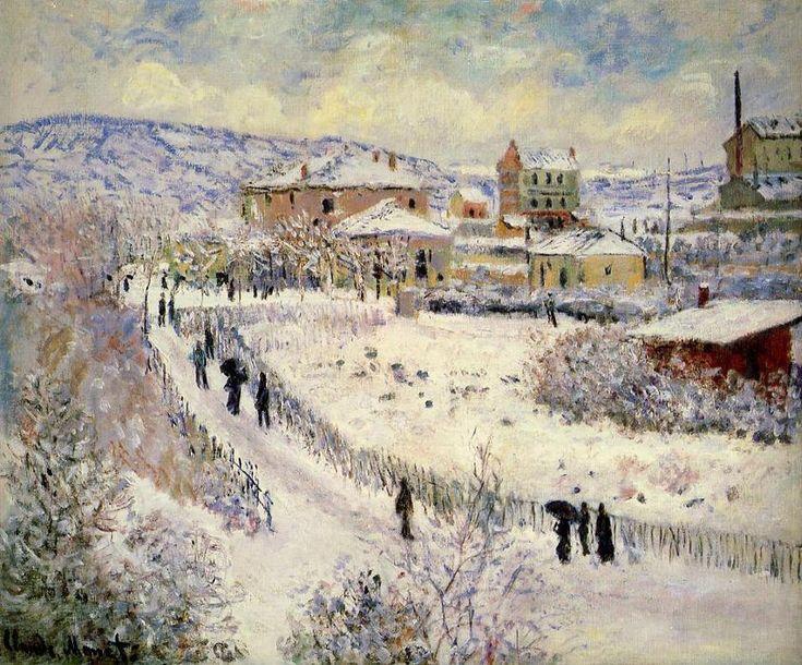 Acheter Tableau 'vue d' argenteuil dans le neige' de Claude Monet - Achat d'une reproduction sur toile peinte à la main , Reproduction peinture, copie de tableau, reproduction d'oeuvres d'art sur toile