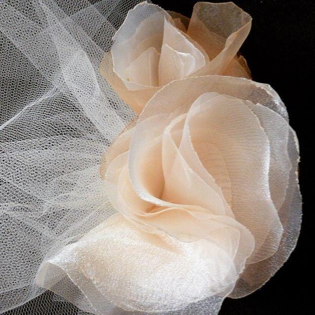 Shades of champagne organza flowered wedding veil.  #abirdinthehair #handmade #HatArtist  #hatDesigner #weddingveils #veilsaustralia #champagneweddingveil #weddings #australia #australiawedding #weddingaccessory #bespokebridal @abirdinthehair