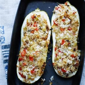 Vegetable Stuffed Marrow. We are substituting this for Vegetable Marrow Farci and using zucchini for the marrow.