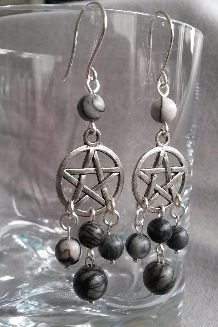 Quartz pentagram earrings - Long pentagram earring - Wicca pentagram earrings - Pentagram earrings with black veined jasper and silver hooks by IMKdesign on Etsy