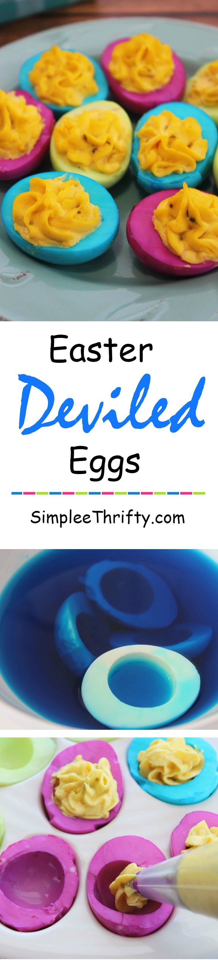 Simple and Easy Neon Easter Deviled Eggs. Add some color to the table for Easter Dinner.