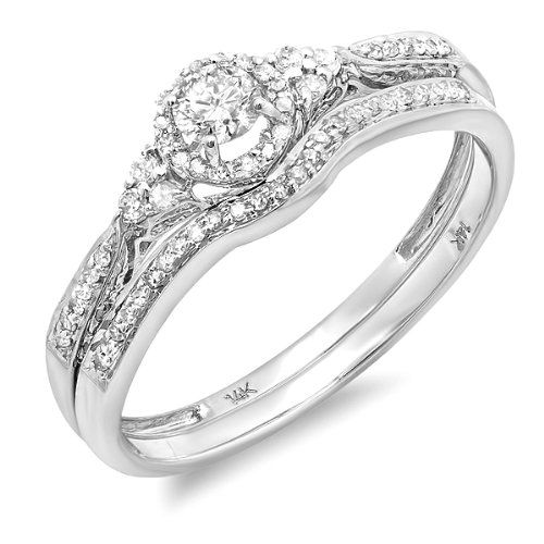 Carat Ctw White Gold Round Blue And Diamond Ladies Halo Style Bridal Engagement Ring Matching Band Set CT Size