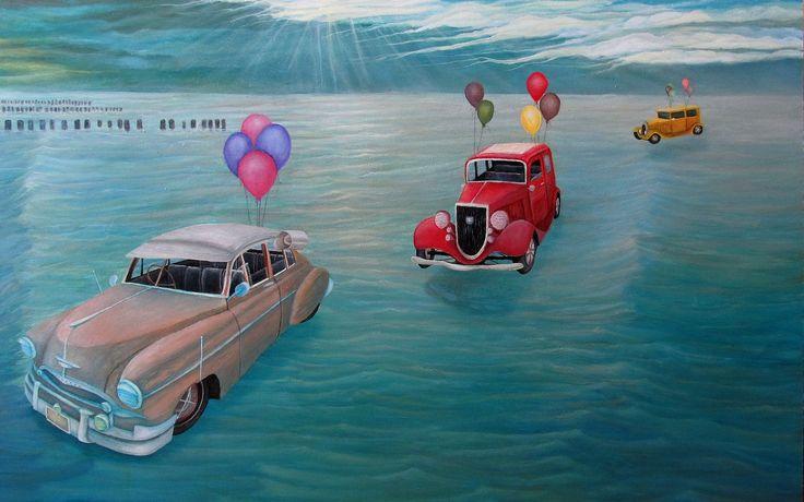 VINTAGE CARS II | 93 x 59 cm | Acrylic and Oil Painting on Hardboard | by Krzysztof Polaczenko ® 2014