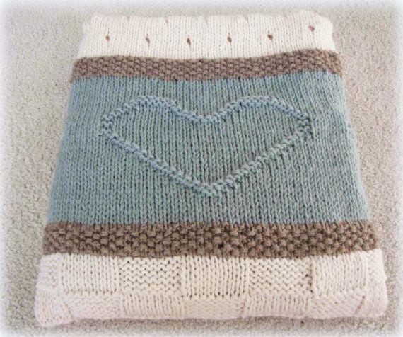 Knit Blanket Pattern Knit Throw Pattern heart by TheKnittingCloset