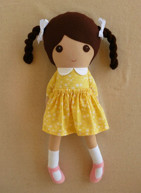 Large Fabric Doll Rag Doll Brown Haired Girl with Braids in Yellow Floral Dress