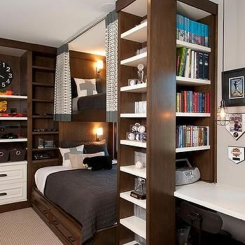 Espresso Built In Beds with Curtains, Transitional, Boy's Room