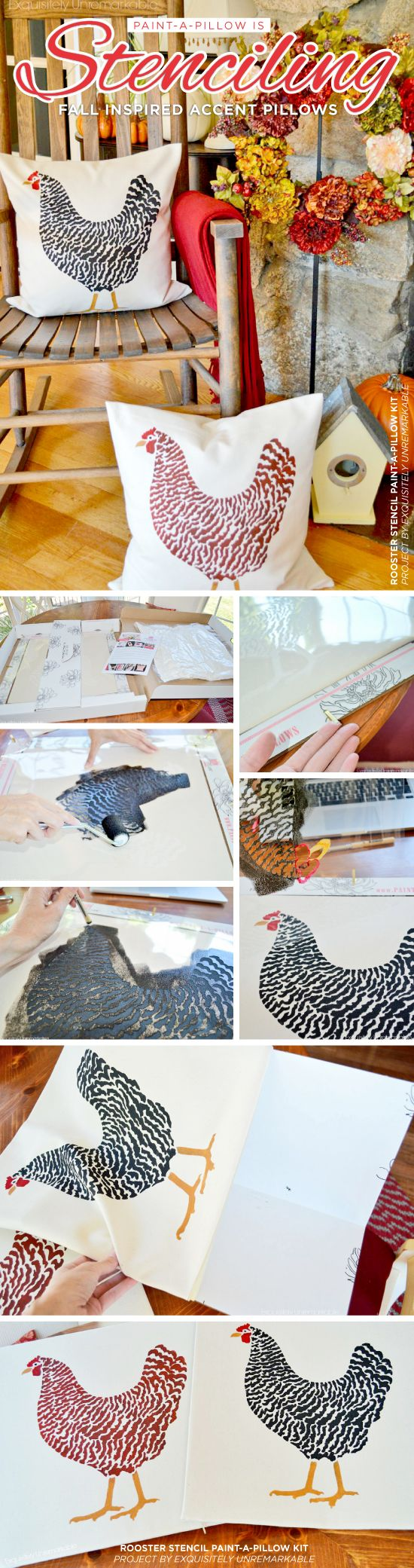 Cutting Edge Stencils shares how to make DIY fall inspired accent pillows using the Dominique Chicken Paint-A-Pillow stencil kit.    http://www.cuttingedgestencils.com/dominique-chicken-stenciled-paint-a-pillow-kit.html?utm_source=JCG&utm_medium=Pinterest&utm_campaign=Dominique%20Chicken%20DIY%20ACCENT%20PILLOW%20STENCIL%20KIT