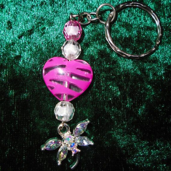 Keyring - Diamante Dragonfly Heart (Pink) - Free UK Post - Nature / Animals / Insects / Dragon Fly / Sparkly / Gift / Present / Gorgeous