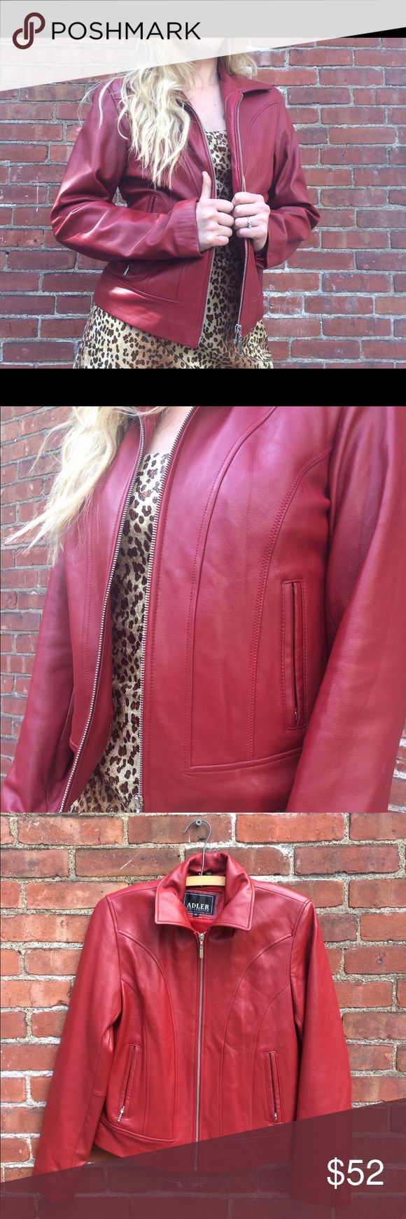 Vintage Red Leather Jacket Fantastic piece. Did you know Cuero is Leather in Spanish? Size small . The detail and lines are amazing for the fit. Measurements are: 21 inches long. 18 inches  pit to pit. Vintage Jackets & Coats