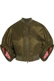 Cropped bomber jacket in army-green satin