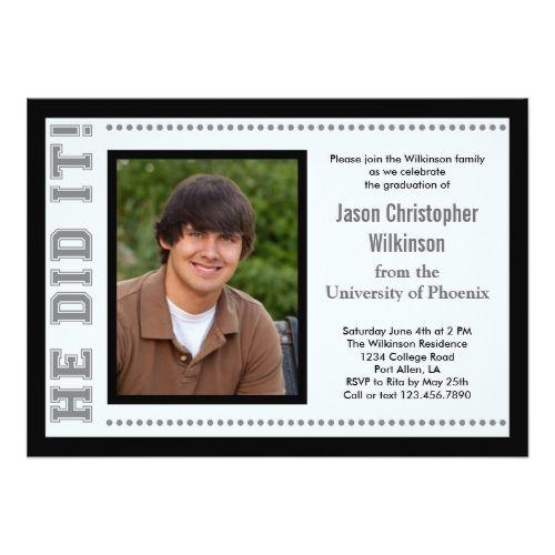 He Did It! Graduation Photo Invitation