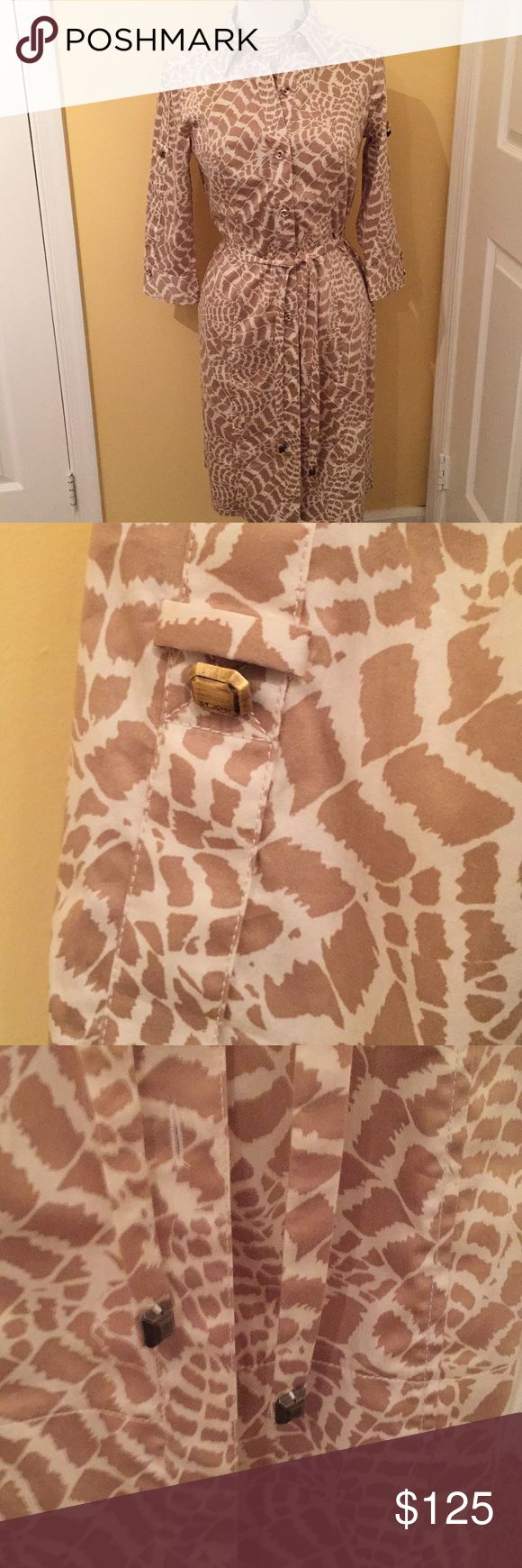 St John Sport Dress Animal Print Button Down Dress