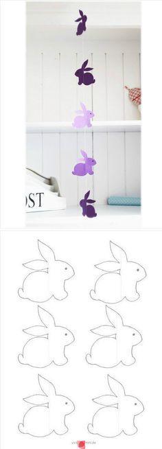Hasengirlande für Ostern mit Vorlage zum Ausdrucken! #diy #basteln