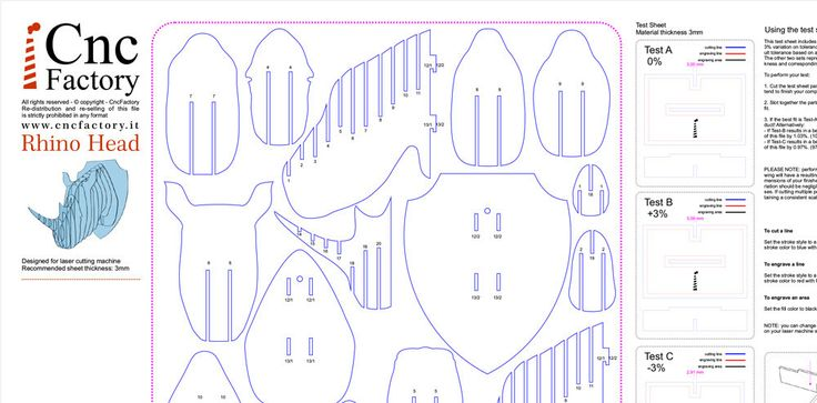 Trofeo de RHINO cabeza - 6 diferentes medidas y espesor opciones dentro del archivo zip!  Con la descarga dentro del archivo zip encontrarás: Archivos optimizados para máquina de corte láser Archivos optimizados para máquina del ranurador del CNC (conjunto de huesos de perro!) Prueba hoja para el mejor corte y ranura para máquina de corte láser y máquina router cnc  Gran variedad de opciones y material grueso de tamaño  Tamaño 1:22 x 16 x 20 cm - espesor del Material - 3 mm Tamaño 2:44 x 33…