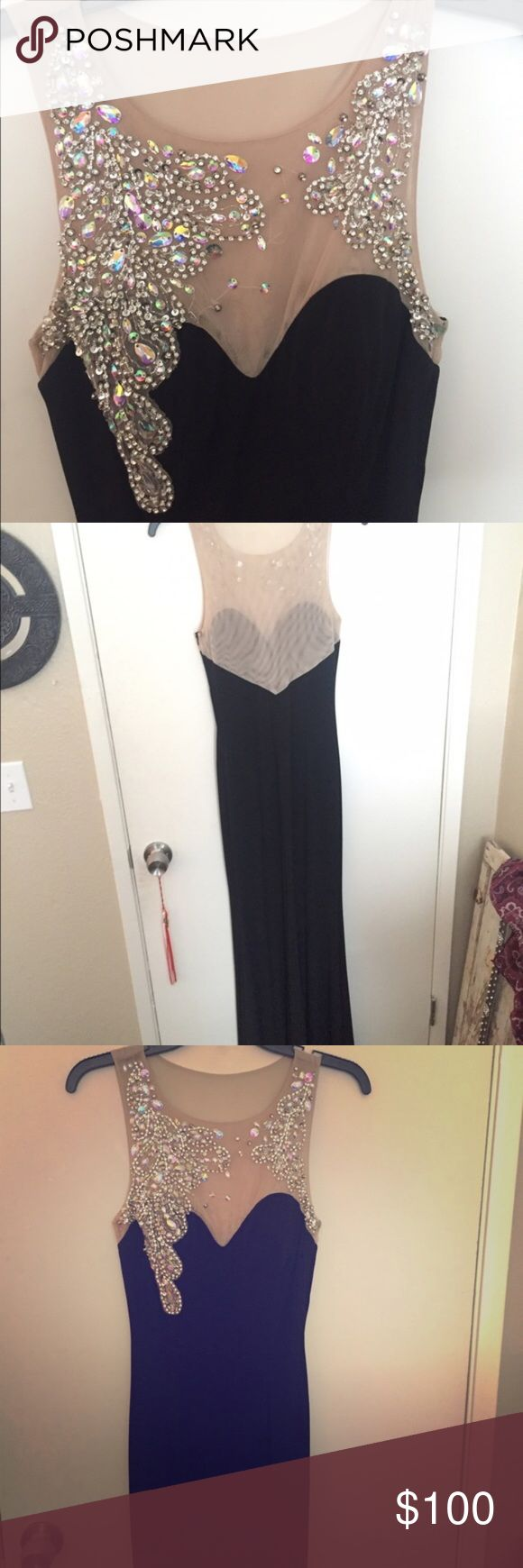 Never Worn Size 5 Black Prom Dress w\ Jewels NEVER WORN! Size 5 (wasn't an option on sizing here so I put a 6) body fitted mermaid style Beautiful black prom dress with a nude skin tone mesh up top (so on skin mesh top almost disappears) and beautiful sequins and jewel design floor length black dress. Kept getting asked to have a pic of it on so people could see how the mesh looks against skin (because of how small it is on me I am afraid of ruining the dress putting it on) I ALWAYS CONSIDER…