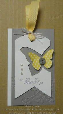 Love the two butterfly punches together on this bookmark. The pearls & embossing give it that extra touch of loveliness.  Stampin & Scrappin with Stasia